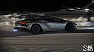 Aventador S - Flamethrower HOT LAPS on ICE!