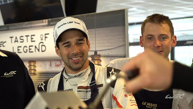 Porscheteam Andre Lotterer/Nick Tandy/Neel Jani make you some nice Liège Waffles