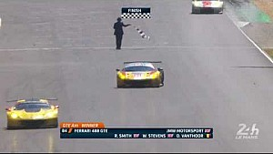 The LMGTE AM finish, with the JMW Motorsport on top at Le Mans