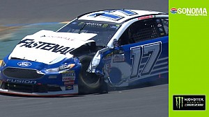 Stenhouse collides with Patrick. incurs heavy damage