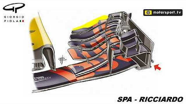 Red Bull RB13 front wing choices at Spa