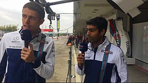 Williams TV: Paul di Resta and Karun Chandhok in the garage at Suzuka