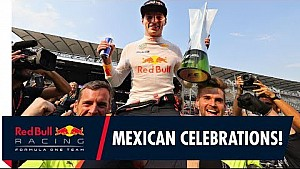 Max Verstappen celebrates with the team in Mexico!