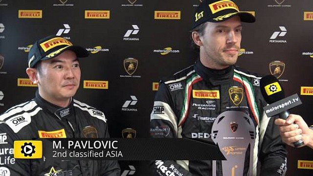 Lamborghini Super Trofeo Round 6 Asia Race 2 - Interview with Haryanto and Pavlovic