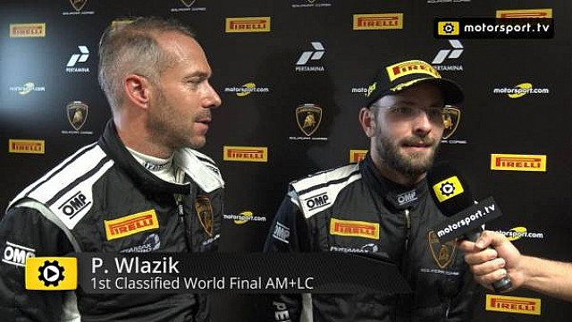 Lamborghini Super Trofeo World Final AM+LC Race 1 - Interview with Wlazik and Scholze