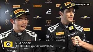 Lamborghini Super Trofeo World Final Pro+Pro Am Race 2 - Interview with Abbate and Nemoto