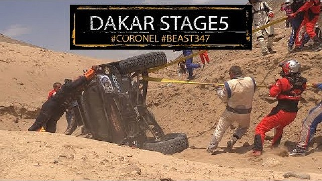 Big flip crash in Dakar for Tim and Tom Coronel in stage 5 in the Jefferies buggy