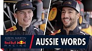 Daniel Ricciardo and Max Verstappen play Australian Word games